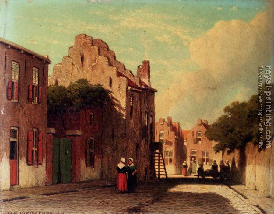 Jan Hendrik Weissenbruch : A Sunlit Townview With Figures Conversing