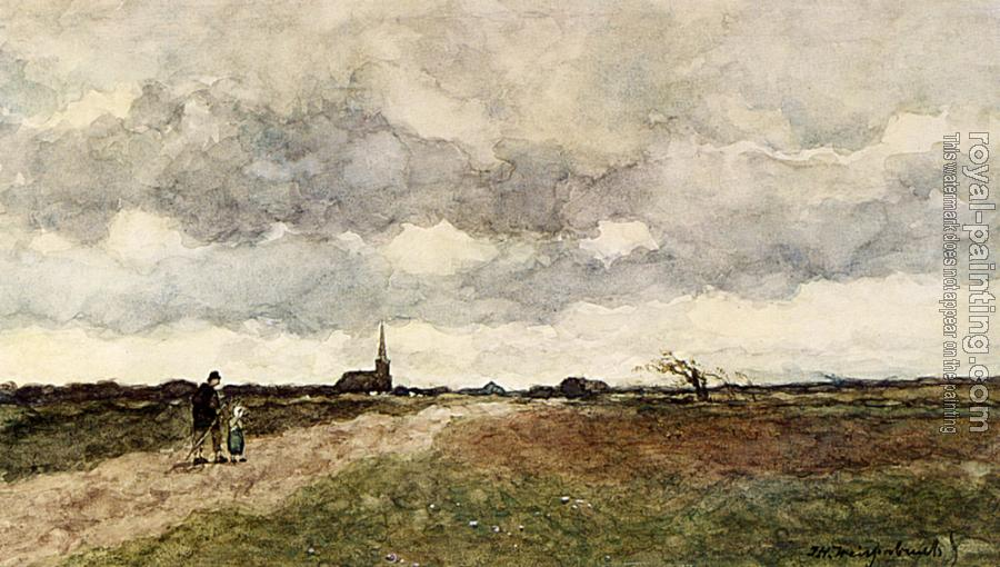 Jan Hendrik Weissenbruch : Figures On A Country Road A Church In The Distance