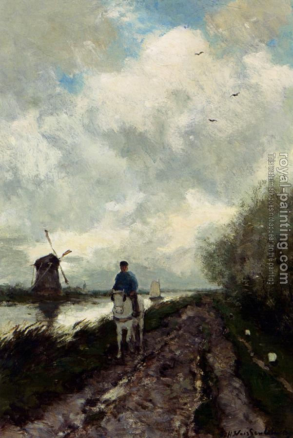 Jan Hendrik Weissenbruch : On The Tow Path Along The River Amstel