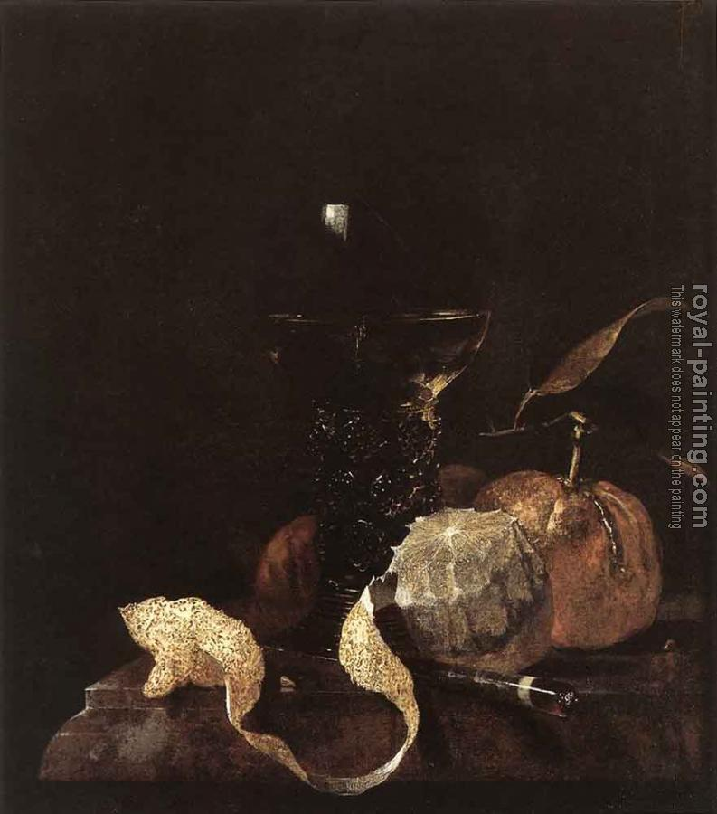 Willem Kalf : Still Life With Lemon Oranges And Glass Of Wine