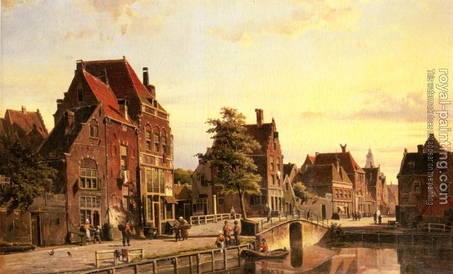 Willem Koekkoek : Figures By A Canal In A Dutch Town