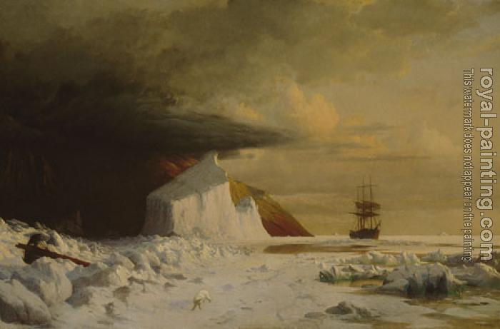 William Bradford : An Arctic Summer Boring Through The Pack In Melville Bay