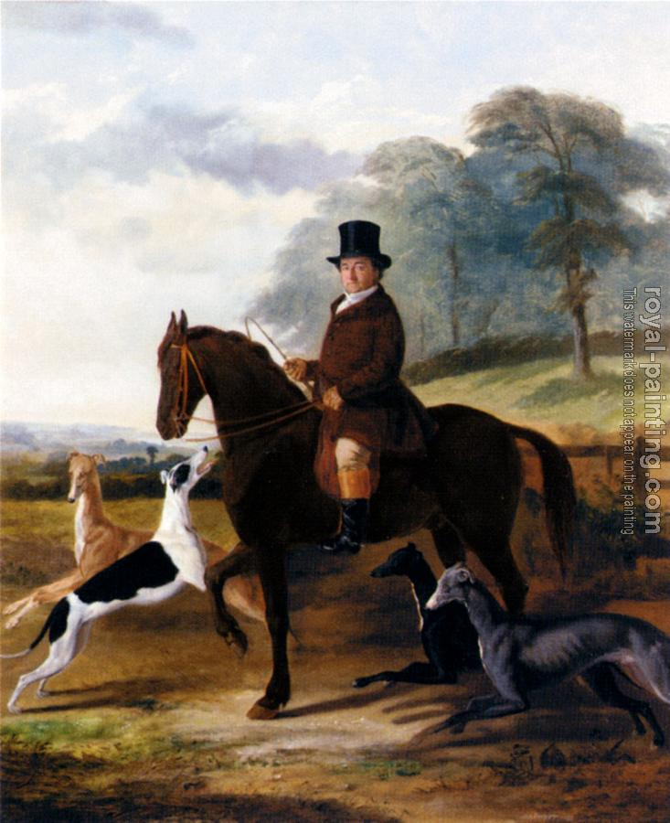 William Henry Knight : mr gilpin on his favorite hack with greyhounds