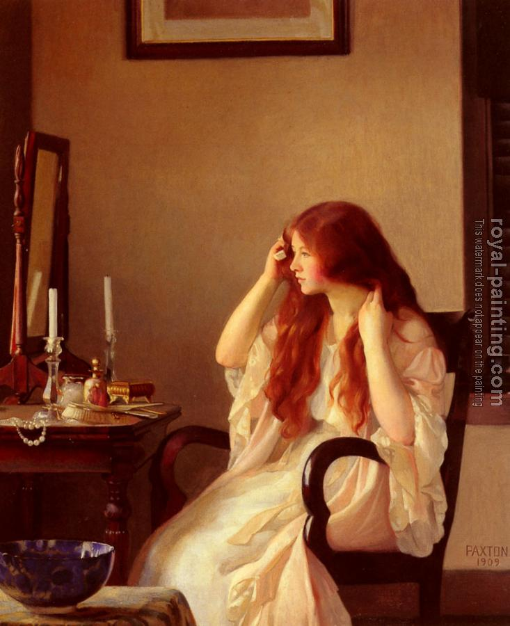William McGregor Paxton : Girl Combing Her Hair