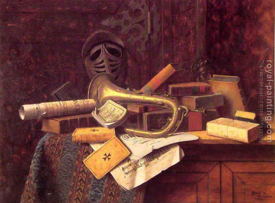 William Michael Harnett : Still life with Bust of Dante
