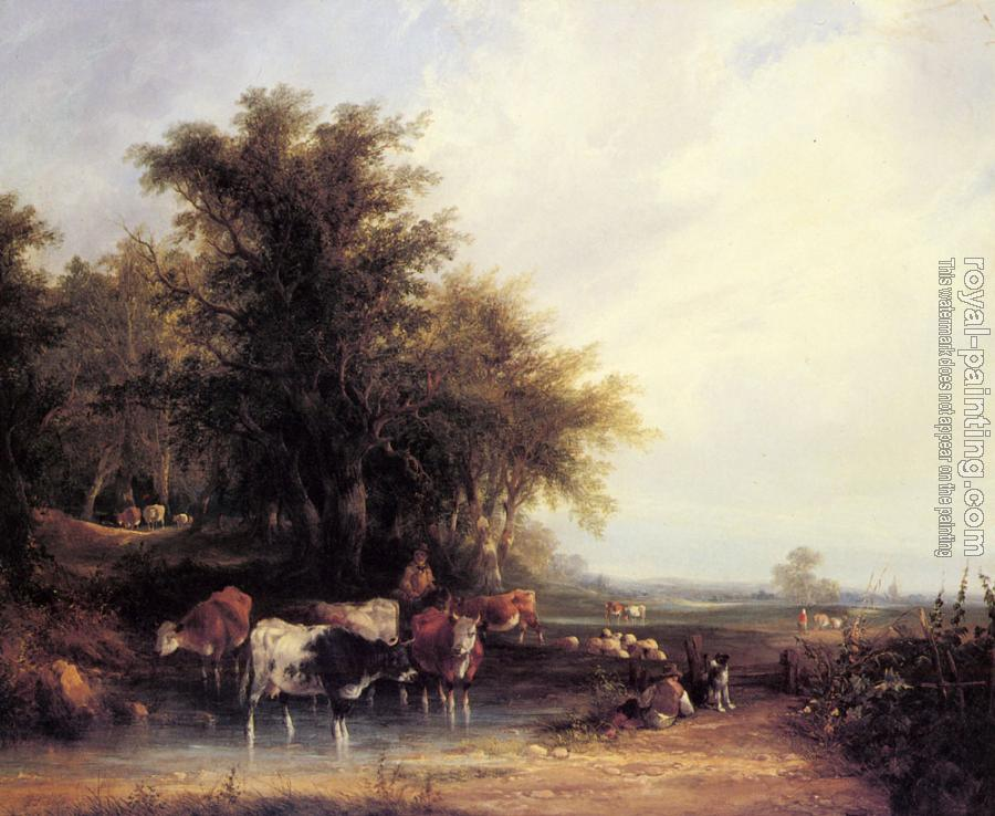Snr William Shayer : Near The New Forest