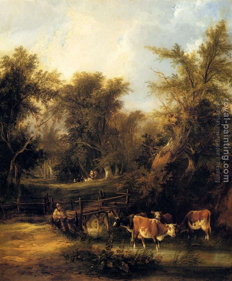 Snr William Shayer : Cattle By A Stream