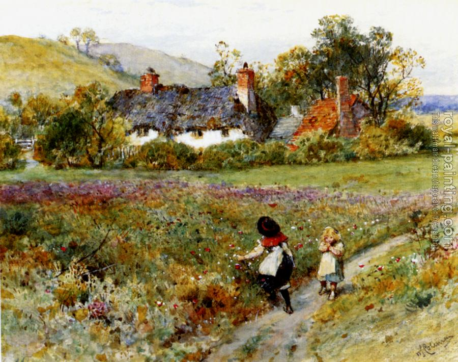 William Stephen Coleman : Children Playing On A Path Cottages Beyond