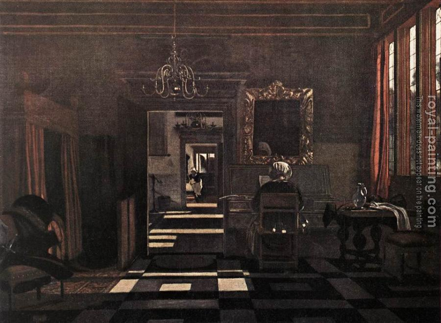 Emanuel De Witte : Interior with a Woman at the Virginals