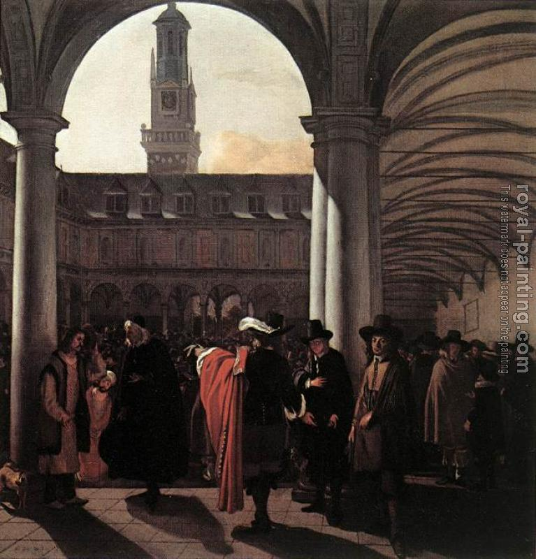 Emanuel De Witte : The Courtyard of the Old Exchange in Amsterdam
