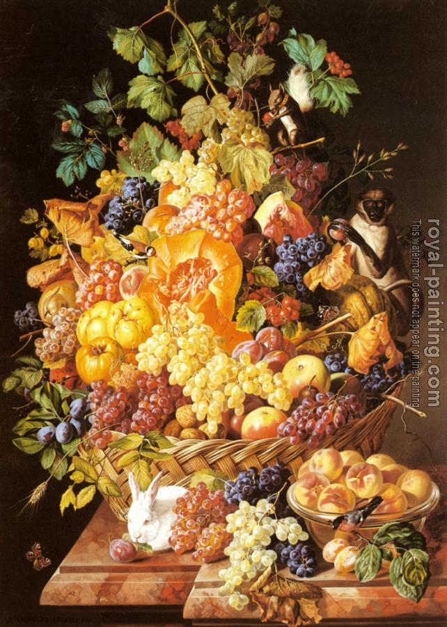 Leopold Zinnogger : A Basket of Fruit with Animals
