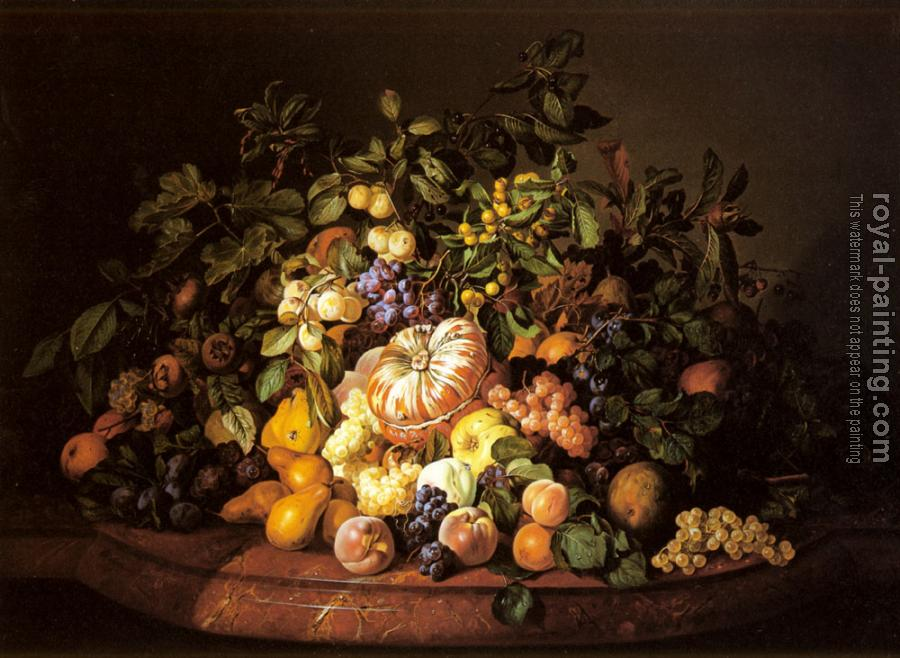 Leopold Zinnogger : A Still Life of Fruit on a Marble Ledge