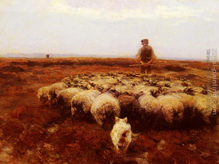 Heirich Von Zugel : Shepherd on the Meadow