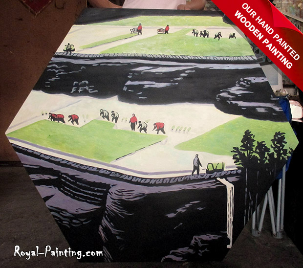 Hand Painted Wood Board : Wooden Painting,Landscapes