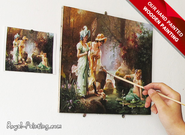 Hand Painted Hans Zatzka Oil Painting : Wooden Painting,Women