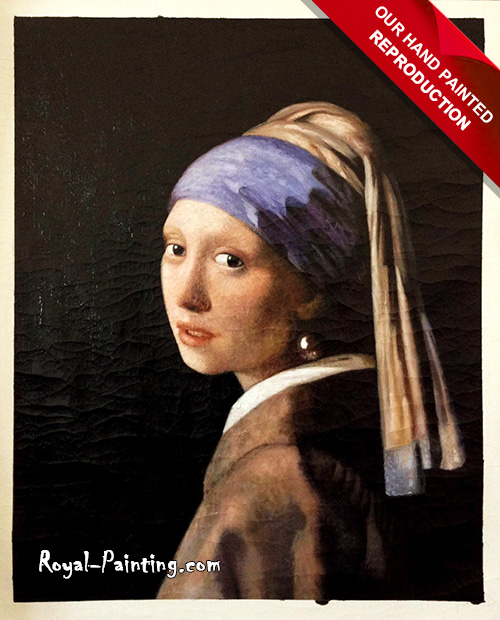 Hand painted painting of Vermeer : Portraits,Cracked Painting